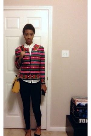 hot pink thrifted blazer blazer - black Target pants