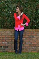 red red sweater J Crew sweater - hot pink button up J Crew shirt