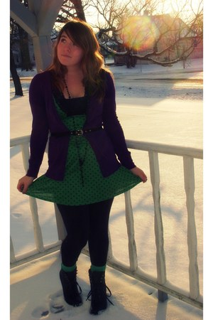 black lace up Rue 21 boots - green polka dotted dress - black No Boundaries legg