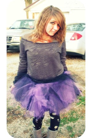 gray Rue 21 sweater - purple skirt - silver leggings - black tights