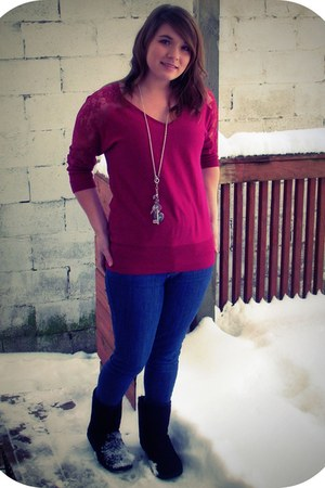 ruby red Lauren Conrad sweater - blue Bullhead jeans - black Walmart boots - sil