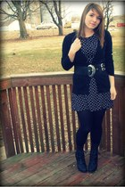 black lace up Rue 21 boots - black volcom dress - black textured tights - black