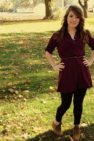 maroon tunic dress - black leggings - light brown belt