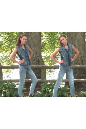 blue Forever 21 vest - blue American Eagle jeans - gray American Apparel top - b