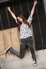 White-urban-outfitters-dress-gray-american-apparel-jeans-black-converse-shoe
