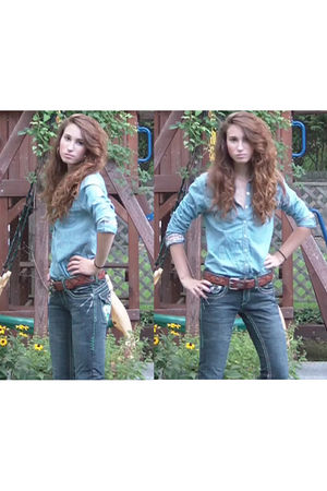 blue Gilly Hicks blouse - blue Laguna Beach jeans - brown Goodwill belt - gold F