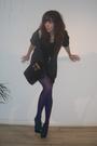 Ebay sweater - patrik rzepski dress - vintage purse - Office shoes