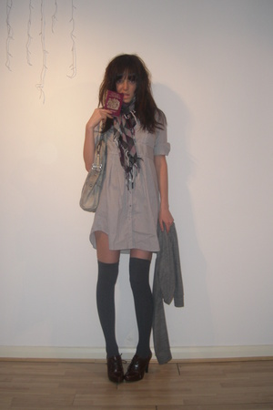 brown scarf H&amp;M accessories - brown Primark shoes - gray H&amp;M dress