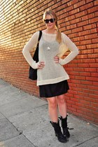 black vintage dress - off white Cynthia Vincent sweater