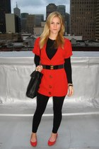 black Michael Kors purse - red Zara flats - red Forever21 cardigan