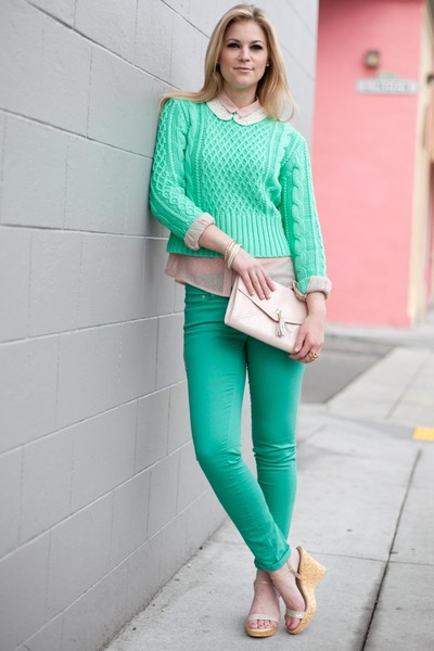 aquamarine acne sweater - bubble gum Jason Wu for Target blouse