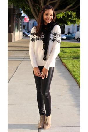 black H&M pants - ivory H&M sweater