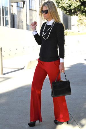 ruby red Victorias Secret pants - black Club Monaco top - white asos blouse