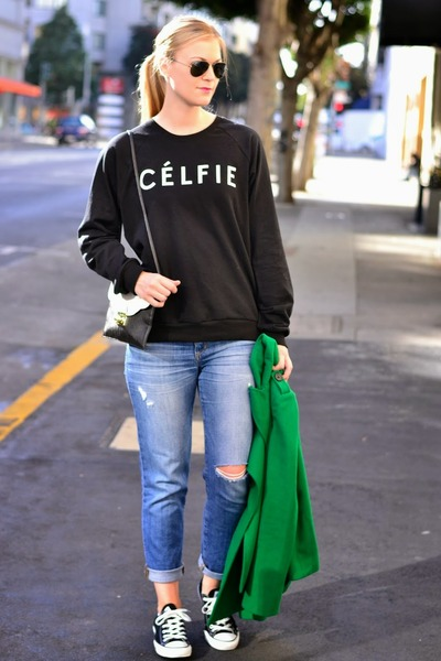 black celfie Sincerely Jules sweatshirt - green peacoat Gap coat