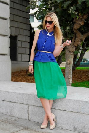 blue Anarchy St top - green vintage dress - navy Gucci bag