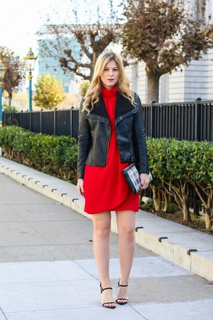red Zara dress - black Forever 21 jacket