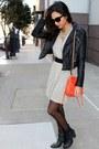 Beige-lamade-dress-black-forever-21-jacket-carrot-orange-rebecca-minkoff-bag