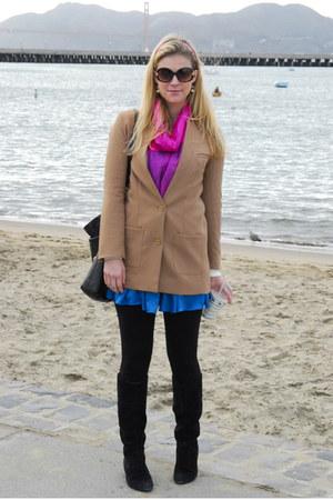 camel H&M jacket - blue Nordstrom dress - hot pink Agra India scarf