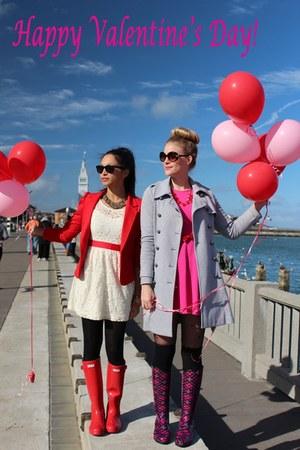 red Hunter boots - hot pink Zara dress - red H&M blazer