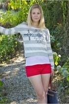 red Forever21 shorts - white Forever21 shirt