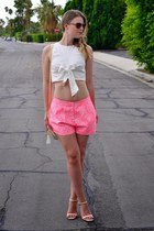 white cropped bow top asos top - bubble gum asos shorts - off white Zara heels