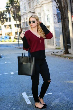 black Cuyana bag - brick red Tobi sweater - black J Brand pants