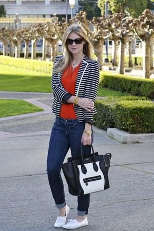 black Forever21 blazer - black Celine purse - carrot orange J Crew cardigan