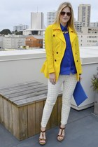 yellow Forever21 jacket - blue The Limited blouse - off white J Brand pants