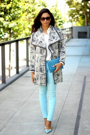 heather gray oversized asos coat - sky blue Tractor jeans