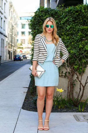 sky blue piperlime dress - white Bell Jar blazer