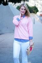 tan Burberry jacket - white J Brand pants - bubble gum asos sweatshirt