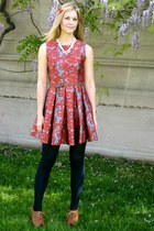 red BB Dakota dress - navy American Apparel tights - brown Seychelle wedges