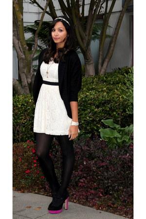hot pink Vince Camuto heels - ivory Forever 21 dress