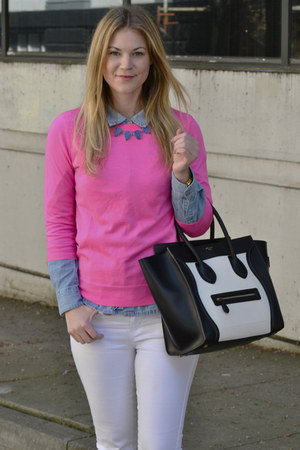 black Celine bag - bubble gum J Crew sweater
