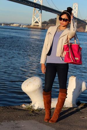 off white jack jacket - navy free people jeans - hot pink Dooney & Bourke bag