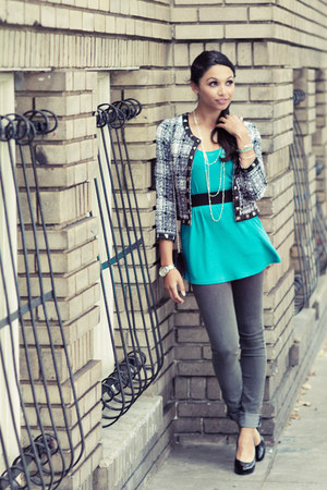 turquoise blue Zara shirt - heather gray Cheap Monday jeans