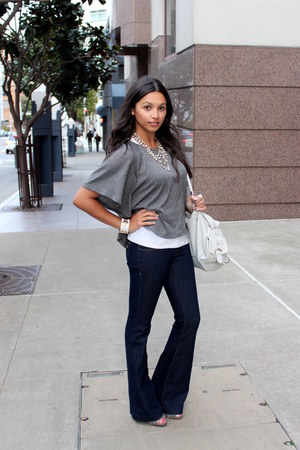 navy DL 1961 jeans - silver Forever 21 shirt