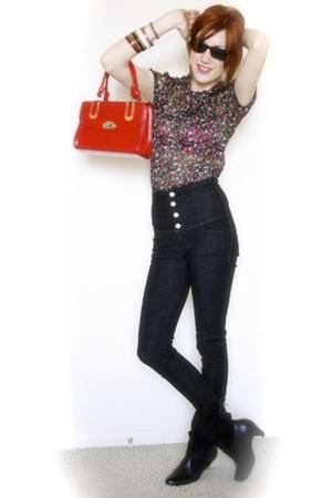 blouse - jeans - vintage purse - Jeffrey Campbell boots