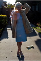 baby blue thrifted vintage dress - fur thrifted vintage coat