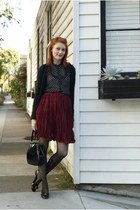 brick red pleated vintage skirt - black ferragamo vintage shoes