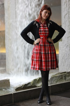 red vintage dress - black JCrew cardigan - black ferragamo heels