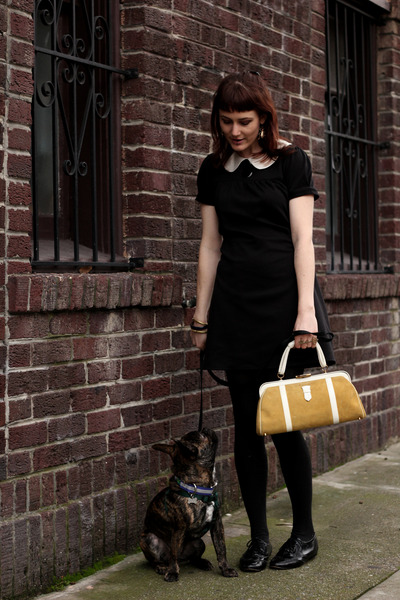yellow vintage bag - black H&M dress - black oxfords Steve Madden flats