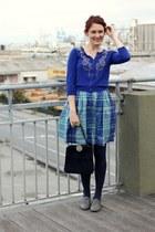 blue beaded Forever 21 cardigan - navy vintage bag