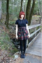 ruby red plaid thrifted vintage skirt - gold buckle thrifted vintage boots