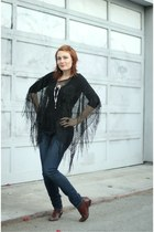black fringe thrifted top - dark brown vintage boots - blue Forever 21 jeans