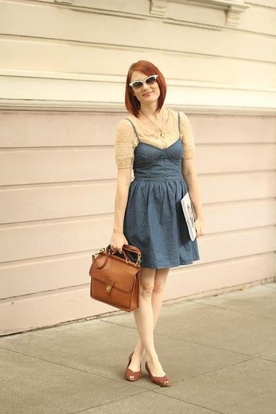 5d2a53da98 light brown vintage coach bag - blue polka dot denim free people dress