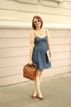 light brown vintage coach bag - blue polka dot denim free people dress