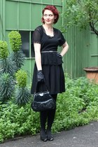 black vintage shoes - black peplum vintage dress - black vintage bag
