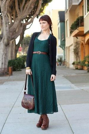 dark brown miz mooz boots - green vintage lace All That Jazz dress - dark brown