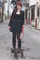 blue Gap skirt - black Love on a Hanger jacket - black boots - red purse - blue